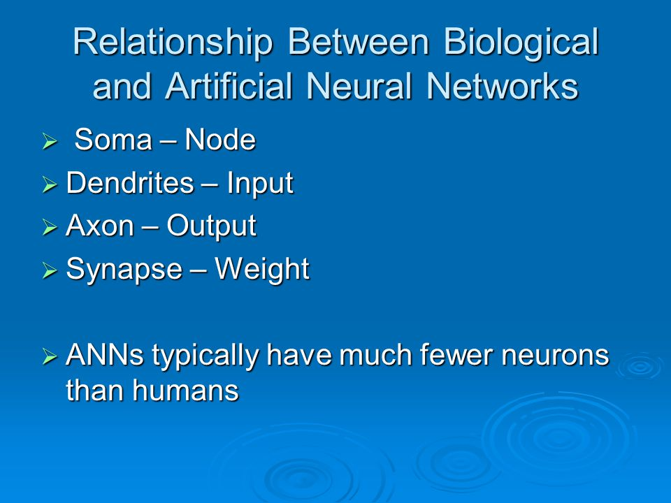 Relationship Between Biological and Artificial Neural Networks  Soma – Node  Dendrites – Input  Axon – Output  Synapse – Weight  ANNs typically h