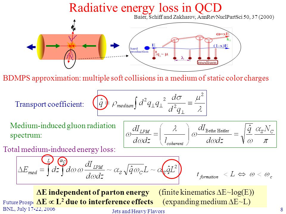 Future Prospects in QCD BNL, July 17-22, 2006 8 Jets and Heavy Flavors Radiative energy loss in QCD BDMPS approximation: multiple soft collisions in a medium of static color charges  E independent of parton energy (finite kinematics  E~log(E))  E  L 2 due to interference effects (expanding medium  E~L) Medium-induced gluon radiation spectrum: Total medium-induced energy loss: Transport coefficient: Baier, Schiff and Zakharov, AnnRevNuclPartSci 50, 37 (2000)