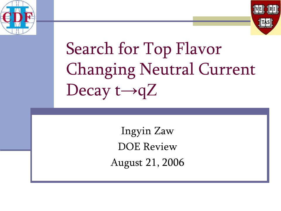 Search for Top Flavor Changing Neutral Current Decay t → qZ Ingyin Zaw DOE Review August 21, 2006
