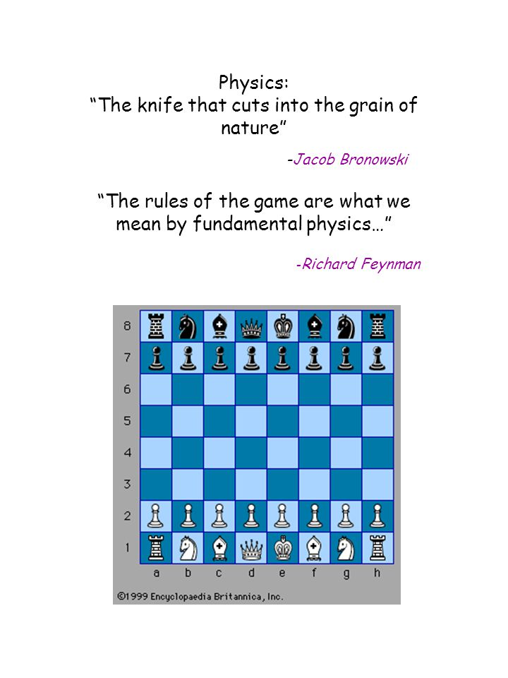 """Physics: """"The knife that cuts into the grain of nature"""" -Jacob Bronowski """"The rules of the game are what we mean by fundamental physics…"""" - Richard Fe"""