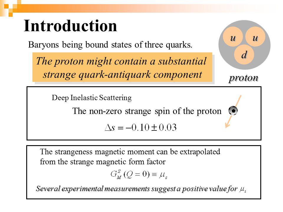 Introduction u u u u d d proton Baryons being bound states of three quarks.