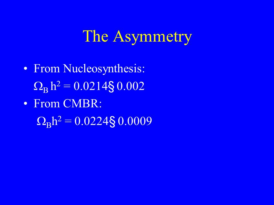 The Asymmetry From Nucleosynthesis:  B h 2 = 0.0214 § 0.002 From CMBR:   B h 2 = 0.0224 § 0.0009