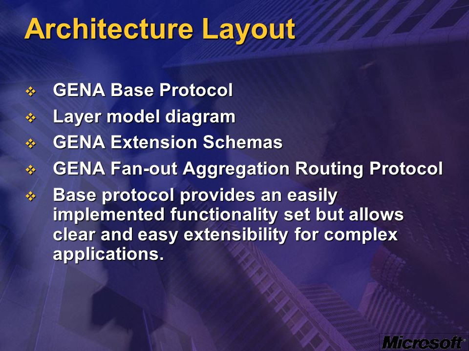 Architecture Layout  GENA Base Protocol  Layer model diagram  GENA Extension Schemas  GENA Fan-out Aggregation Routing Protocol  Base protocol pr