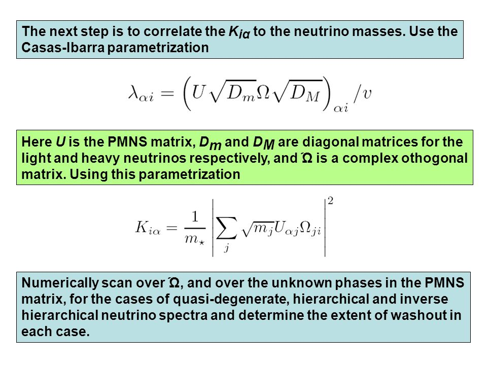 The next step is to correlate the K iα to the neutrino masses.