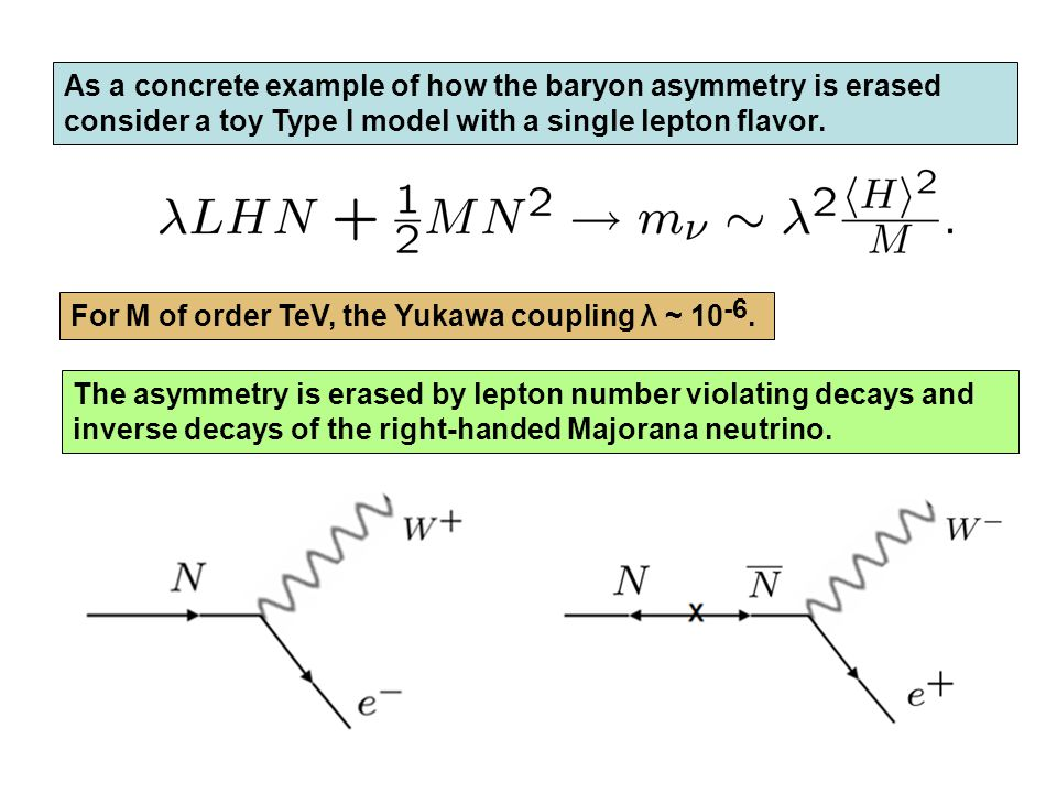 As a concrete example of how the baryon asymmetry is erased consider a toy Type I model with a single lepton flavor.