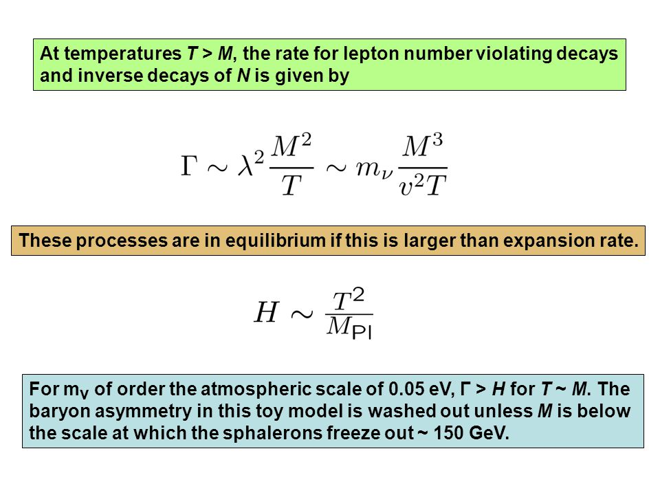 At temperatures T > M, the rate for lepton number violating decays and inverse decays of N is given by These processes are in equilibrium if this is larger than expansion rate.