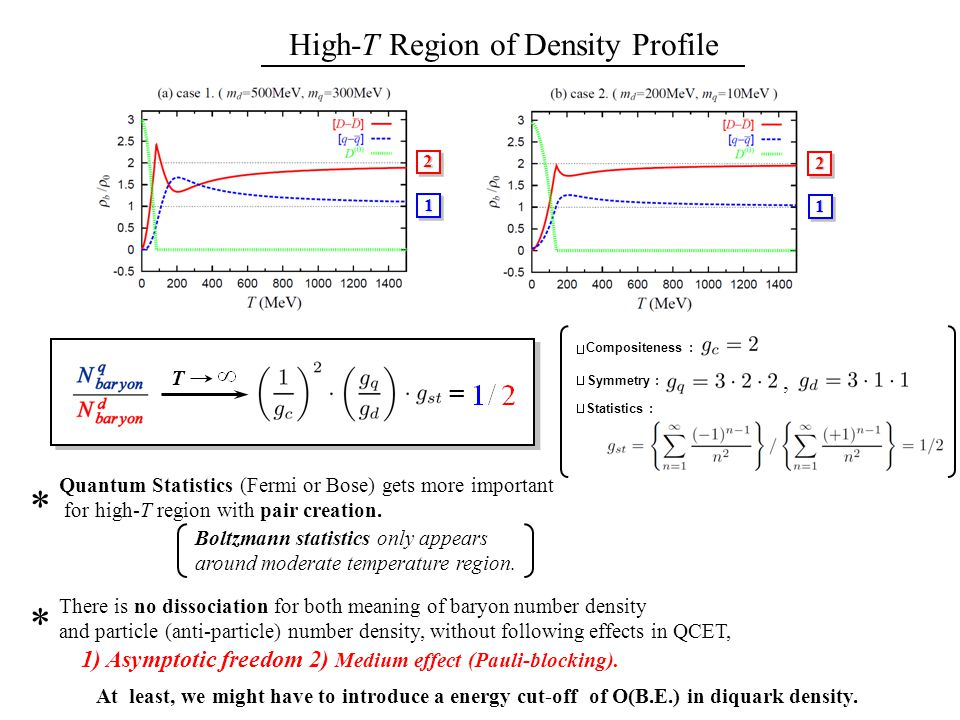 High-T Region of Density Profile22 1 1 T * Quantum Statistics (Fermi or Bose) gets more important for high-T region with pair creation.