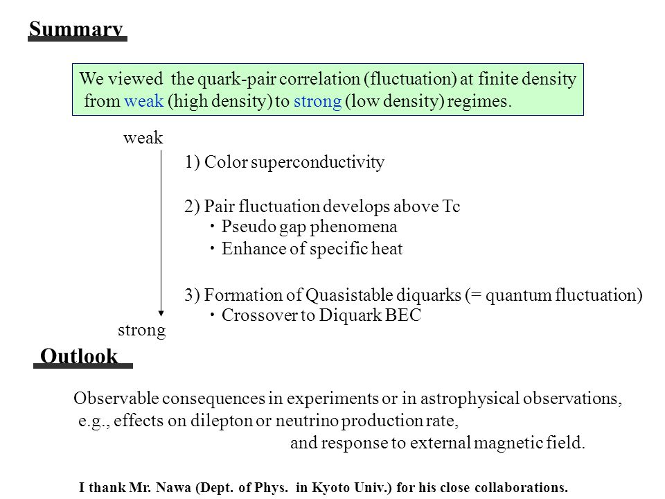 Summary We viewed the quark-pair correlation (fluctuation) at finite density from weak (high density) to strong (low density) regimes.