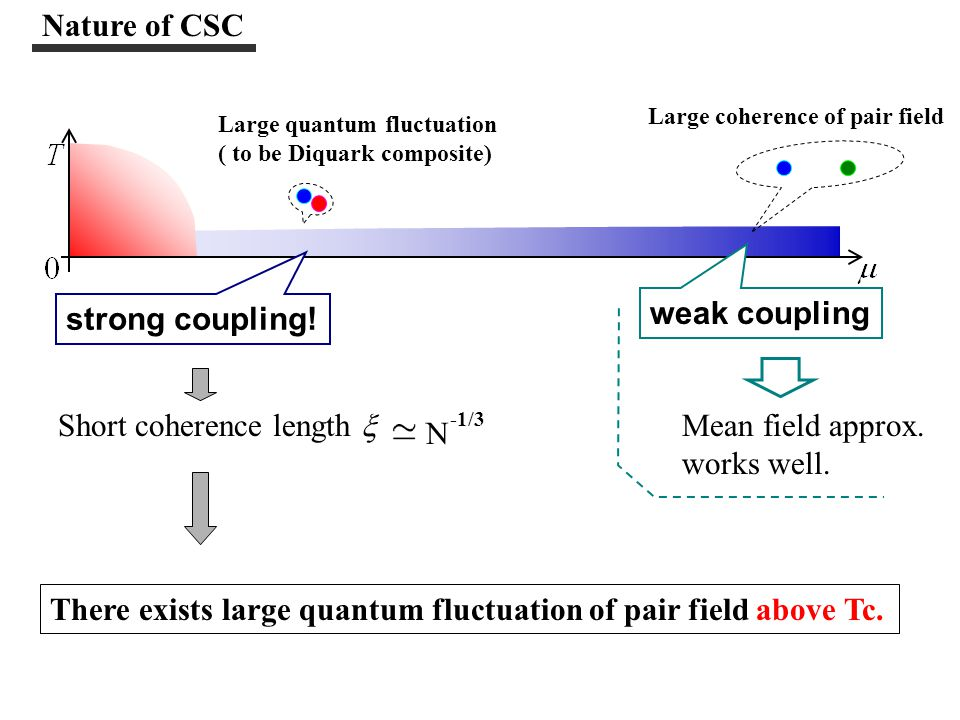 3) Pair fluctuation above Tc in Strong coupling region (= low density region) in Strong coupling region (= low density region) Study on pair fluctuation above Tc (by Kitazawa, Kunihiro) 1) Appearance of Pseudo-Gap 2) Precursory phenomena--- heat capacity, electric conductivity Hadron 2SC phase  T Tc This region