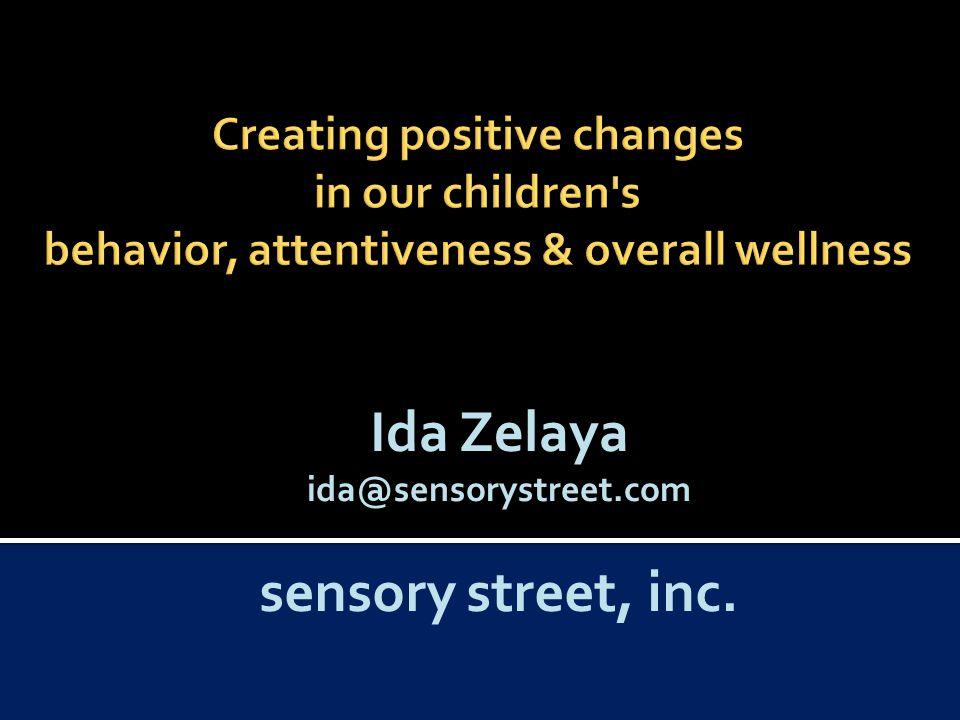 Ida Zelaya ida@sensorystreet.com sensory street, inc.