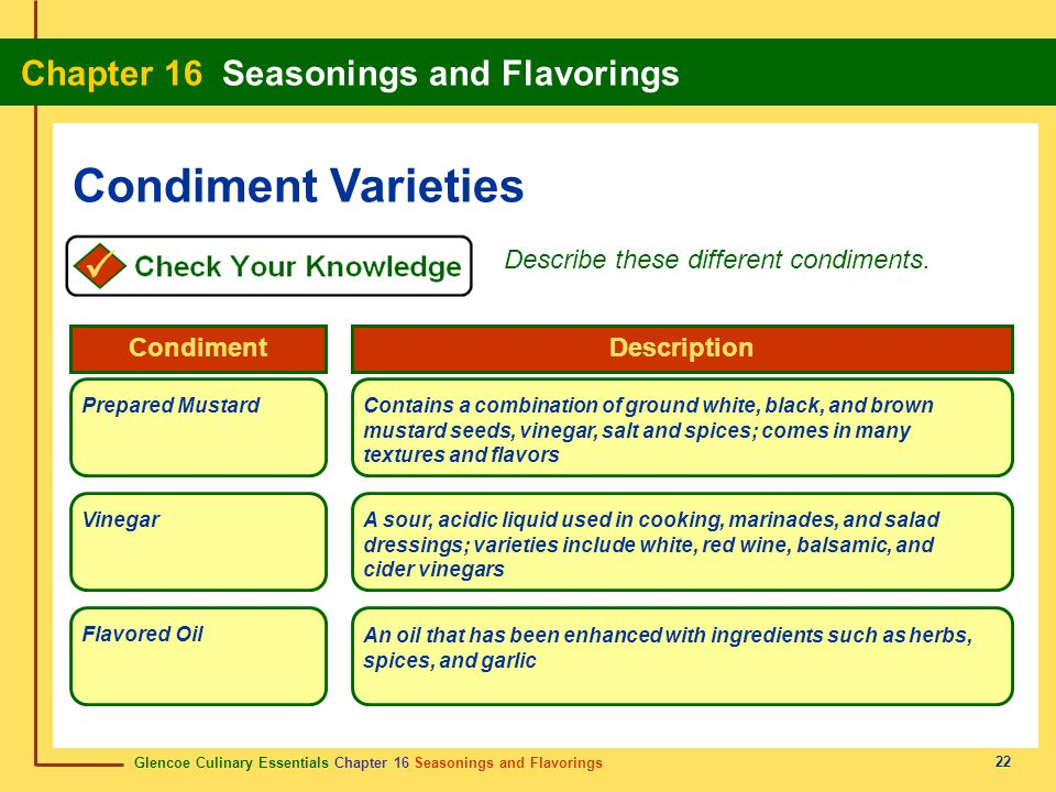 Glencoe Culinary Essentials Chapter 16 Seasonings and Flavorings Chapter 16 Seasonings and Flavorings 22 Condiment Varieties Describe these different