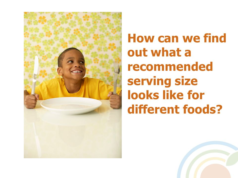 How can we find out what a recommended serving size looks like for different foods