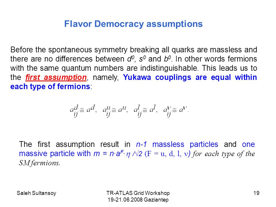 Saleh SultansoyTR-ATLAS Grid Workshop 19-21.06.2008 Gaziantep 19 Flavor Democracy assumptions Before the spontaneous symmetry breaking all quarks are massless and there are no differences between d 0, s 0 and b 0.