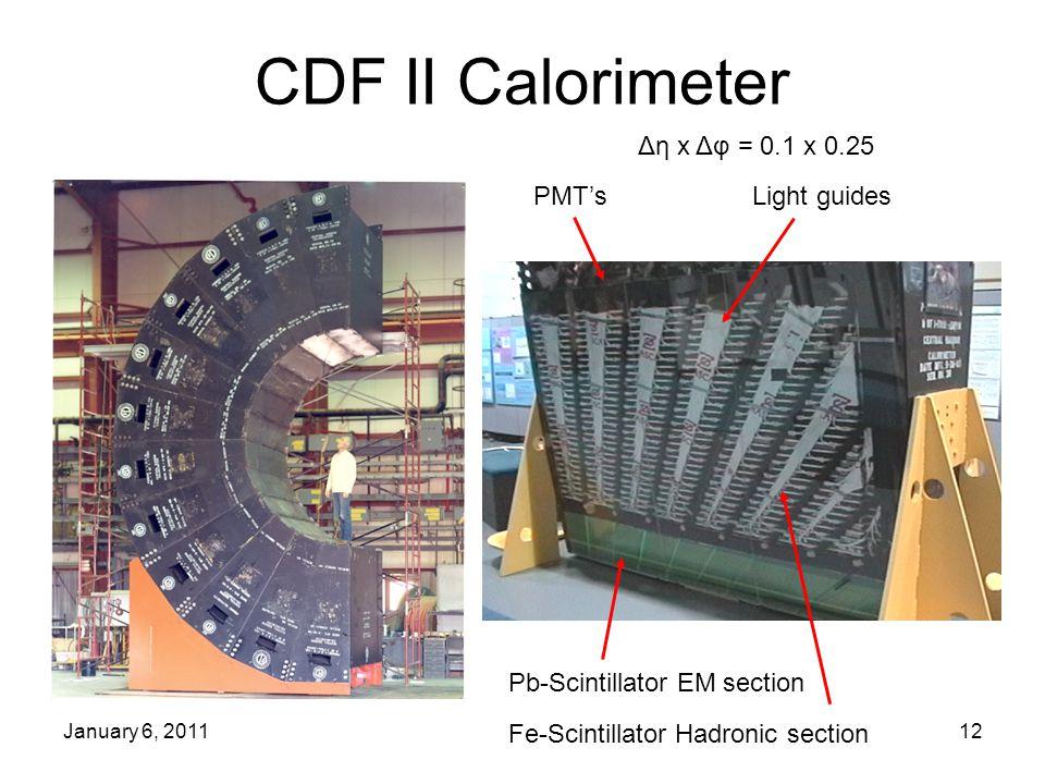 January 6, 201112 CDF II Calorimeter Pb-Scintillator EM section Fe-Scintillator Hadronic section PMT's Light guides Δη x Δφ = 0.1 x 0.25