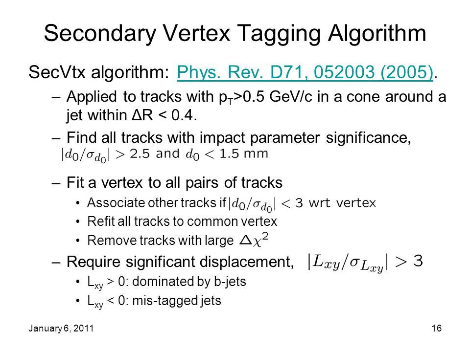 January 6, 201116 Secondary Vertex Tagging Algorithm SecVtx algorithm: Phys.