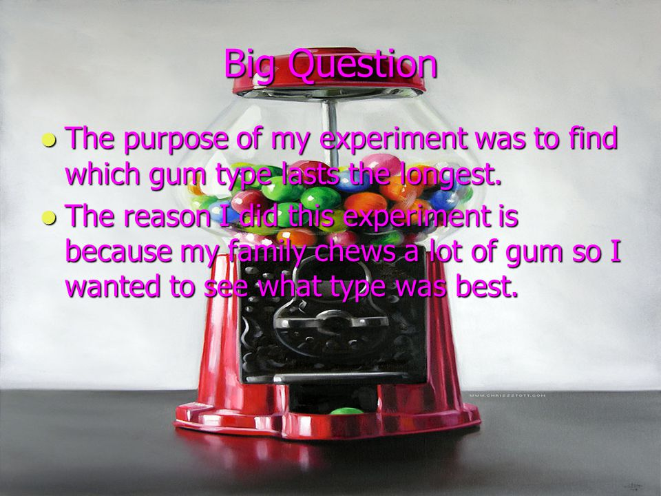 Big Question The purpose of my experiment was to find which gum type lasts the longest. The purpose of my experiment was to find which gum type lasts
