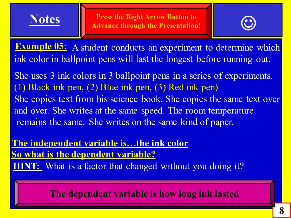 Example 05: A student conducts an experiment to determine which ink color in ballpoint pens will last the longest before running out. She uses 3 ink c