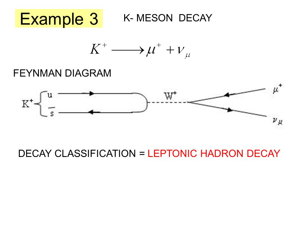 Example 3 K- MESON DECAY FEYNMAN DIAGRAM DECAY CLASSIFICATION = LEPTONIC HADRON DECAY