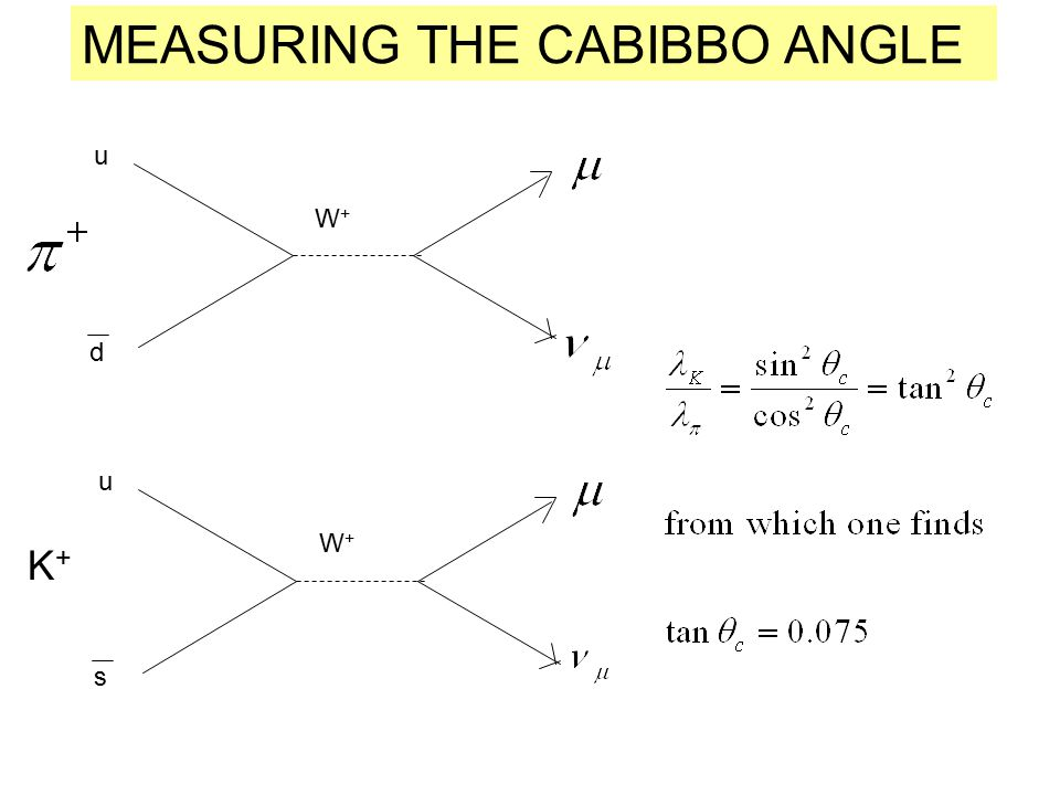 W+W+ u d W+W+ u s K+K+ MEASURING THE CABIBBO ANGLE