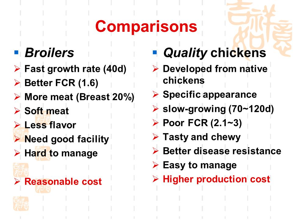 Comparisons  Quality chickens  Developed from native chickens  Specific appearance  slow-growing (70~120d)  Poor FCR (2.1~3)  Tasty and chewy  Better disease resistance  Easy to manage  Higher production cost  Broilers  Fast growth rate (40d)  Better FCR (1.6)  More meat (Breast 20%)  Soft meat  Less flavor  Need good facility  Hard to manage  Reasonable cost