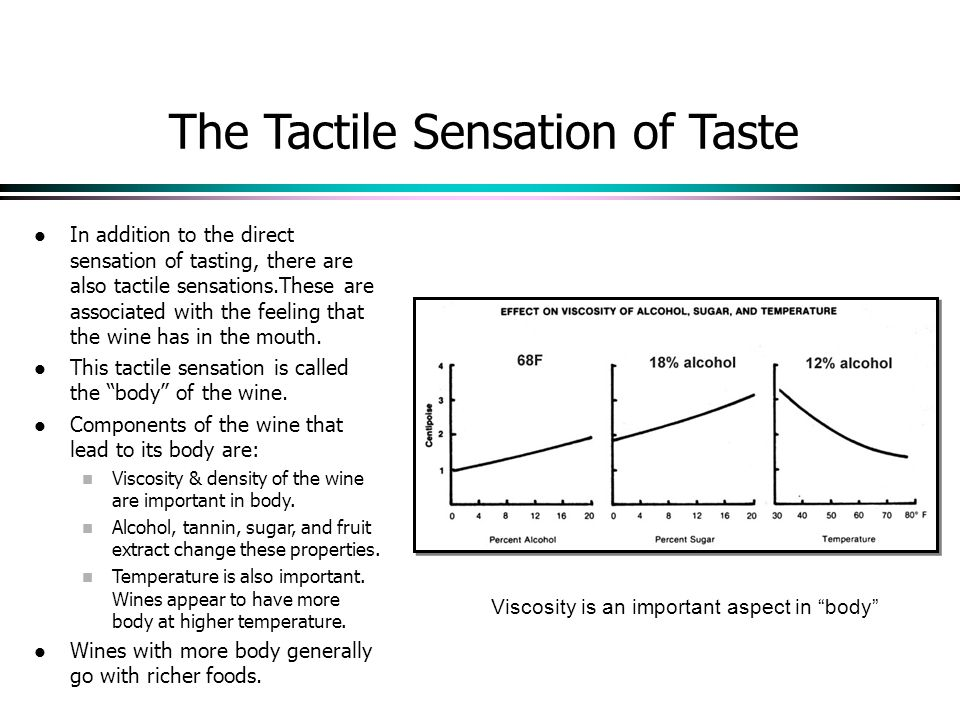 The Tactile Sensation of Taste In addition to the direct sensation of tasting, there are also tactile sensations.These are associated with the feeling that the wine has in the mouth.