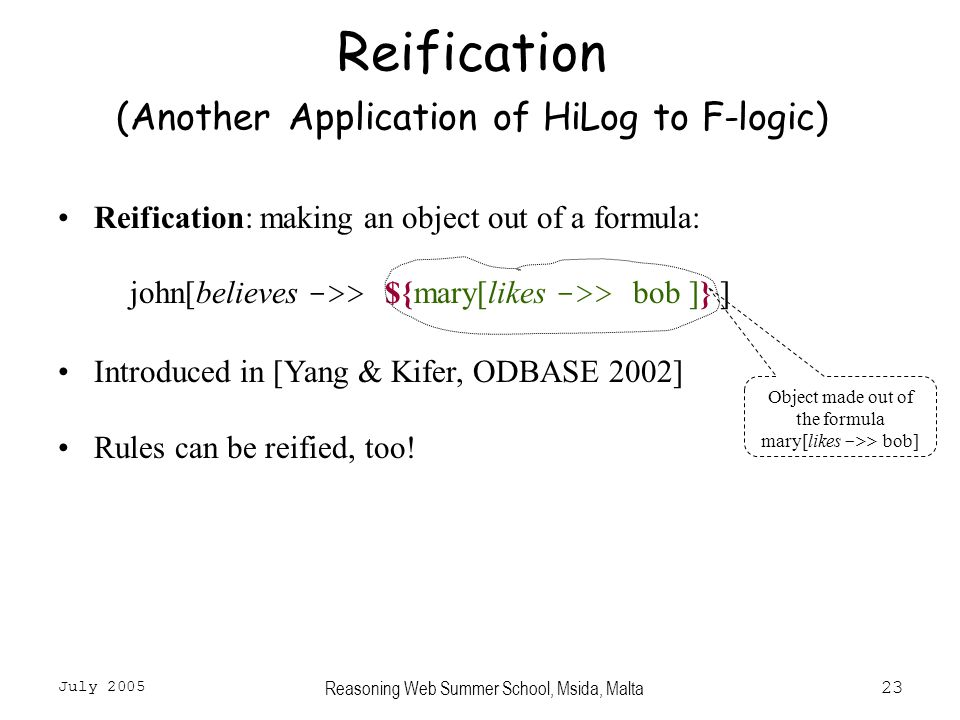 July 2005 Reasoning Web Summer School, Msida, Malta23 Reification (Another Application of HiLog to F-logic) Reification: making an object out of a formula: john[believes ->> ${mary[likes ->> bob ]} ] Introduced in [Yang & Kifer, ODBASE 2002] Rules can be reified, too.