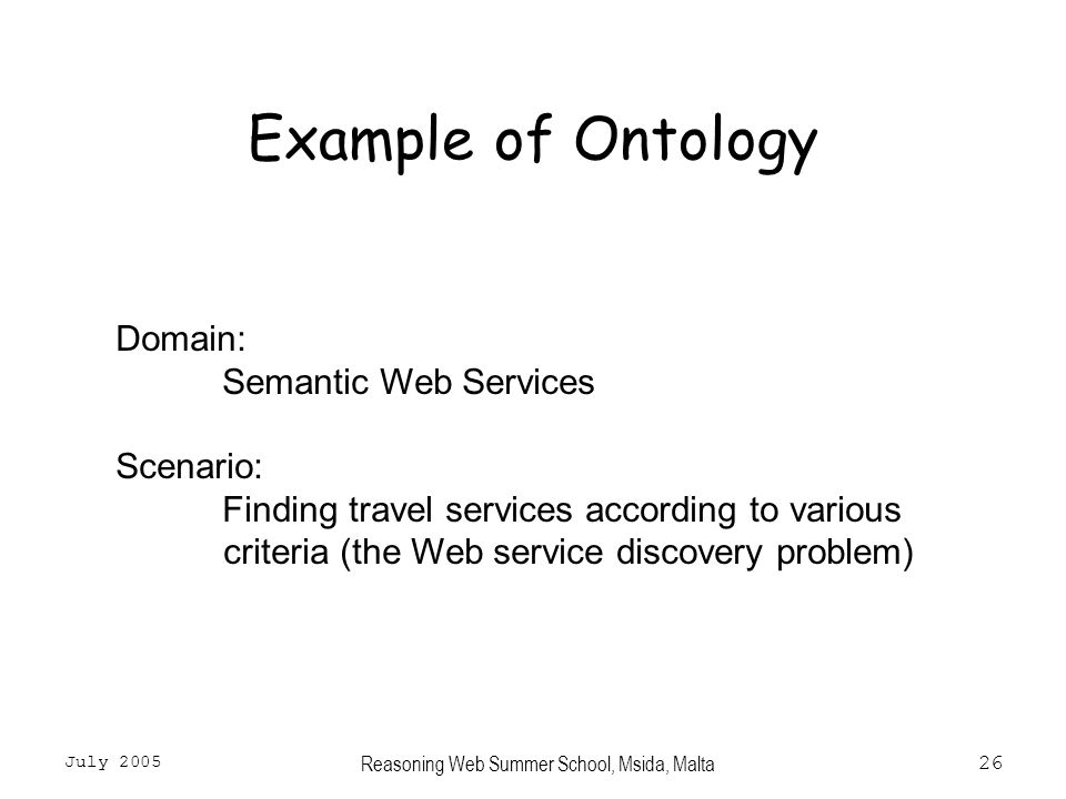 July 2005 Reasoning Web Summer School, Msida, Malta26 Example of Ontology Domain: Semantic Web Services Scenario: Finding travel services according to various criteria (the Web service discovery problem)