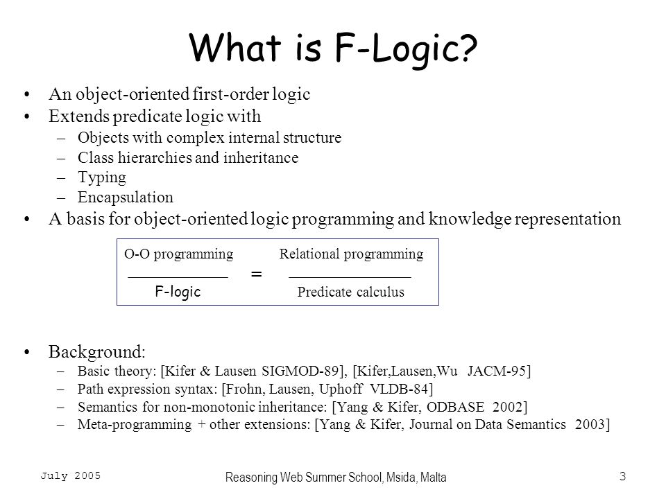 July 2005 Reasoning Web Summer School, Msida, Malta3 What is F-Logic.