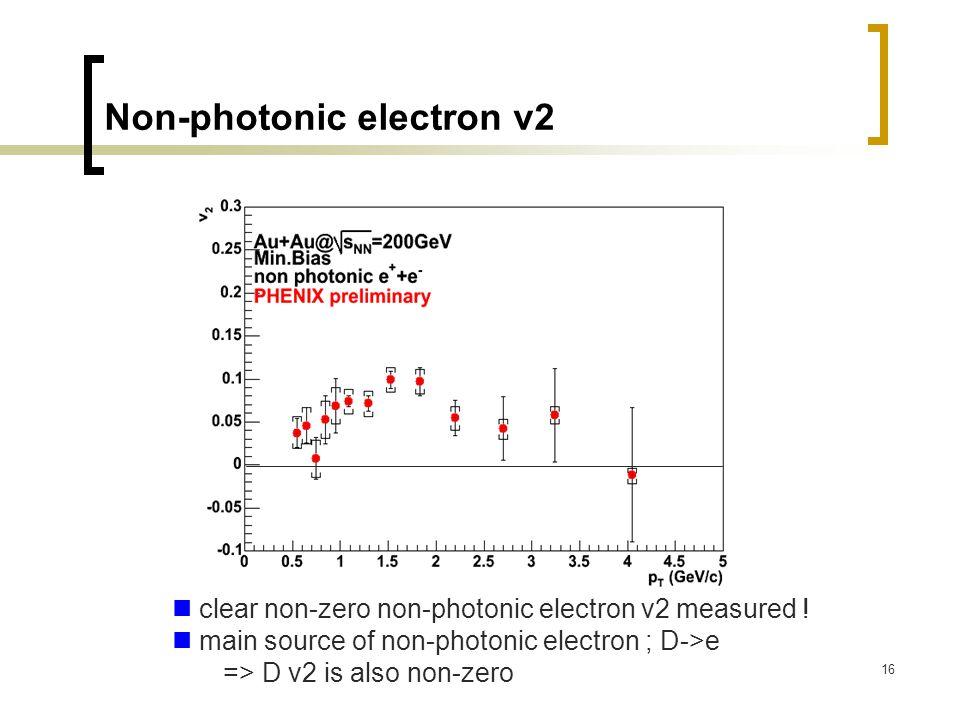 16 Non-photonic electron v2 clear non-zero non-photonic electron v2 measured .