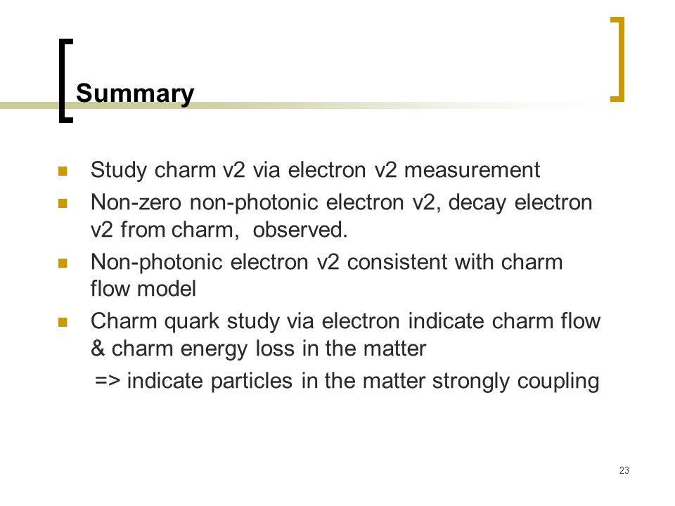 23 Summary Study charm v2 via electron v2 measurement Non-zero non-photonic electron v2, decay electron v2 from charm, observed.