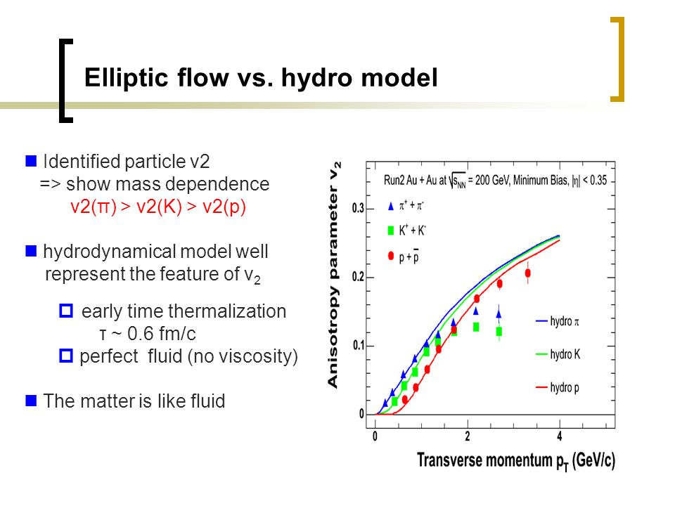 4 Elliptic flow vs. hydro model Identified particle v2 => show mass dependence v2(π) > v2(K) > v2(p) hydrodynamical model well represent the feature o