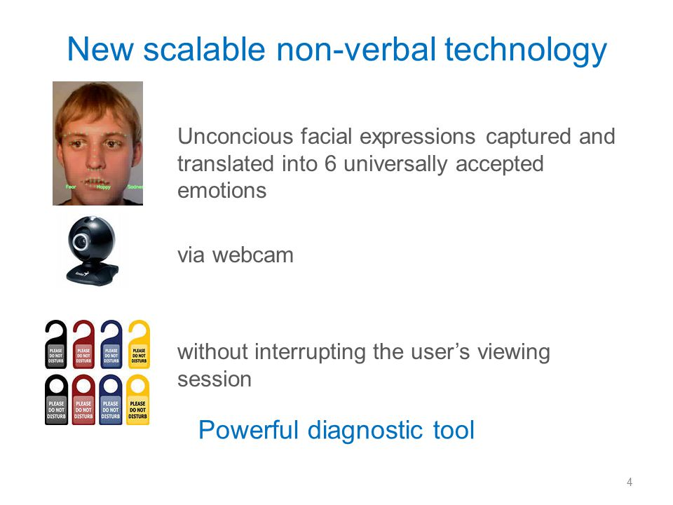 New scalable non-verbal technology Unconcious facial expressions captured and translated into 6 universally accepted emotions via webcam without interrupting the user's viewing session 4 Powerful diagnostic tool