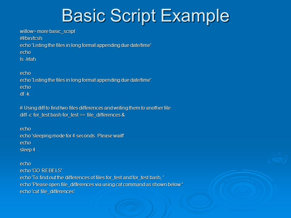 Basic Script Example willow> more basic_script #!/bin/tcsh echo Listing the files in long format appending due date/time echo ls -lrtah echo echo Listing the files in long format appending due date/time echo df -k # Using diff to find two files differences and writing them to another file diff -c for_test.bash for_test >> file_differences & echo echo sleeping mode for 4 seconds.