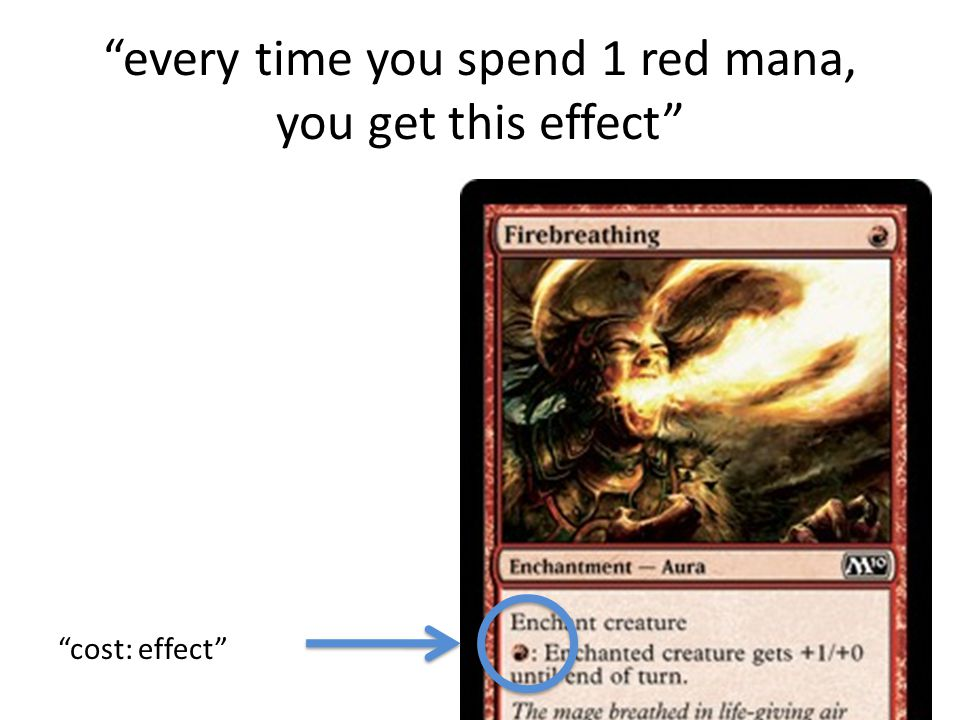 every time you spend 1 red mana, you get this effect cost: effect