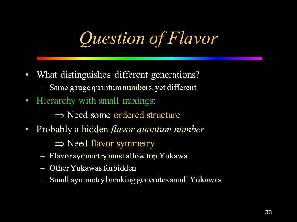 38 Question of Flavor What distinguishes different generations? –Same gauge quantum numbers, yet different Hierarchy with small mixings:  Need some o