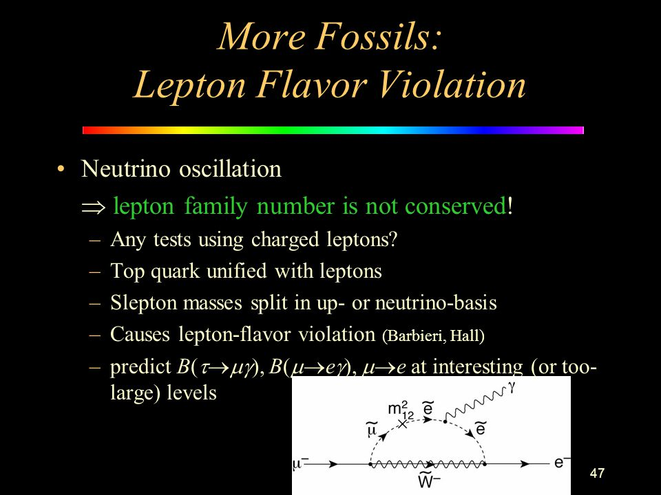 47 More Fossils: Lepton Flavor Violation Neutrino oscillation  lepton family number is not conserved! –Any tests using charged leptons? –Top quark un