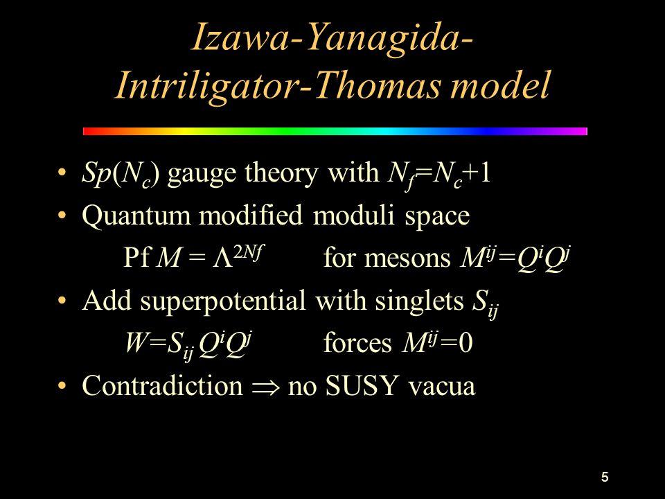 5 Izawa-Yanagida- Intriligator-Thomas model Sp(N c ) gauge theory with N f =N c +1 Quantum modified moduli space Pf M =  2Nf for mesons M ij =Q i Q j Add superpotential with singlets S ij W=S ij Q i Q j forces M ij =0 Contradiction  no SUSY vacua