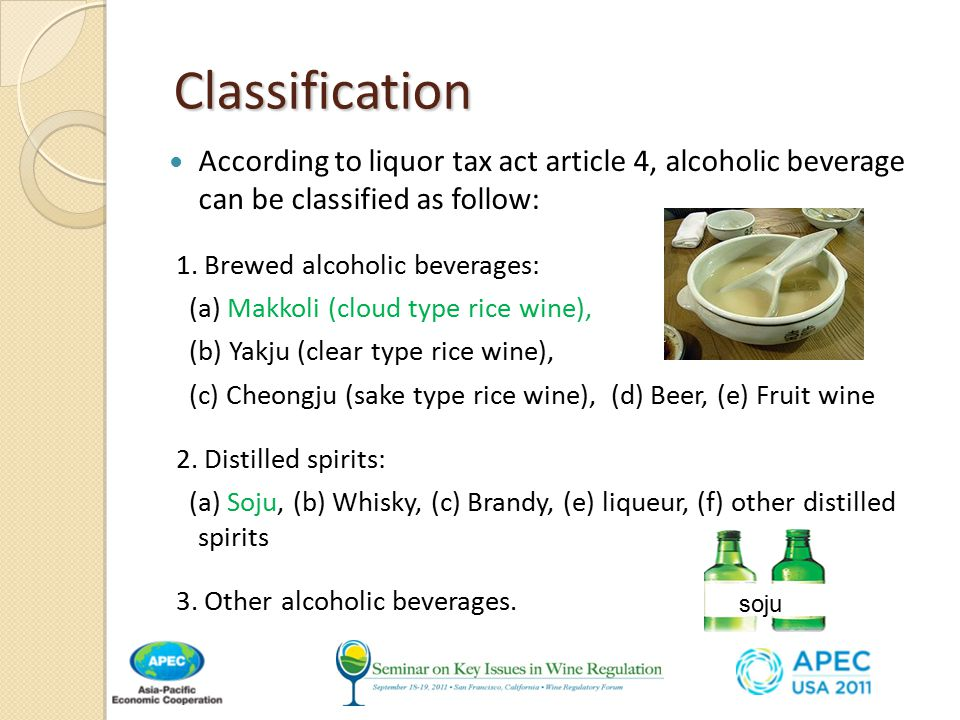 Classification Classification According to liquor tax act article 4, alcoholic beverage can be classified as follow: 1.