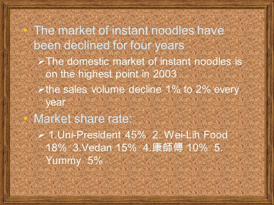 The market of instant noodles have been declined for four years  The domestic market of instant noodles is on the highest point in 2003  the sales volume decline 1% to 2% every year Market share rate:  1.Uni-President 45% 2.