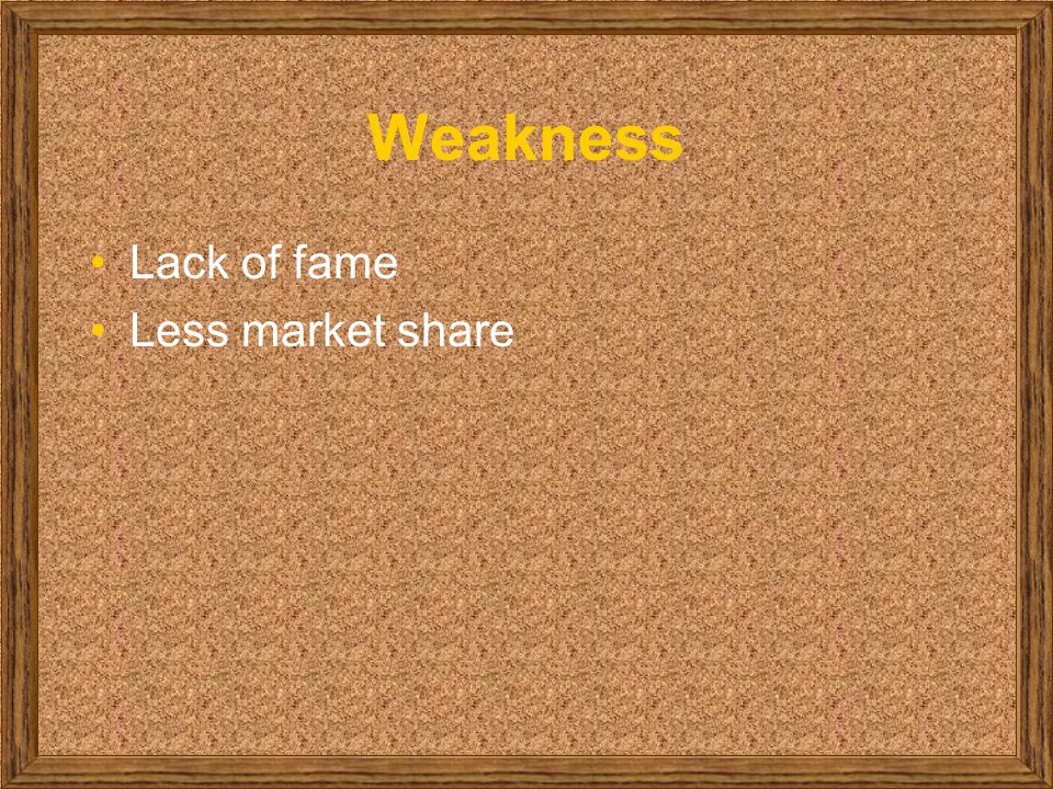 Weakness Lack of fame Less market share