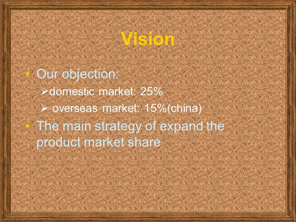 Vision Our objection:  domestic market: 25%  overseas market: 15%(china) The main strategy of expand the product market share