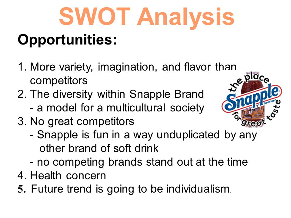 SWOT Analysis Opportunities: 1. More variety, imagination, and flavor than competitors 2. The diversity within Snapple Brand - a model for a multicult