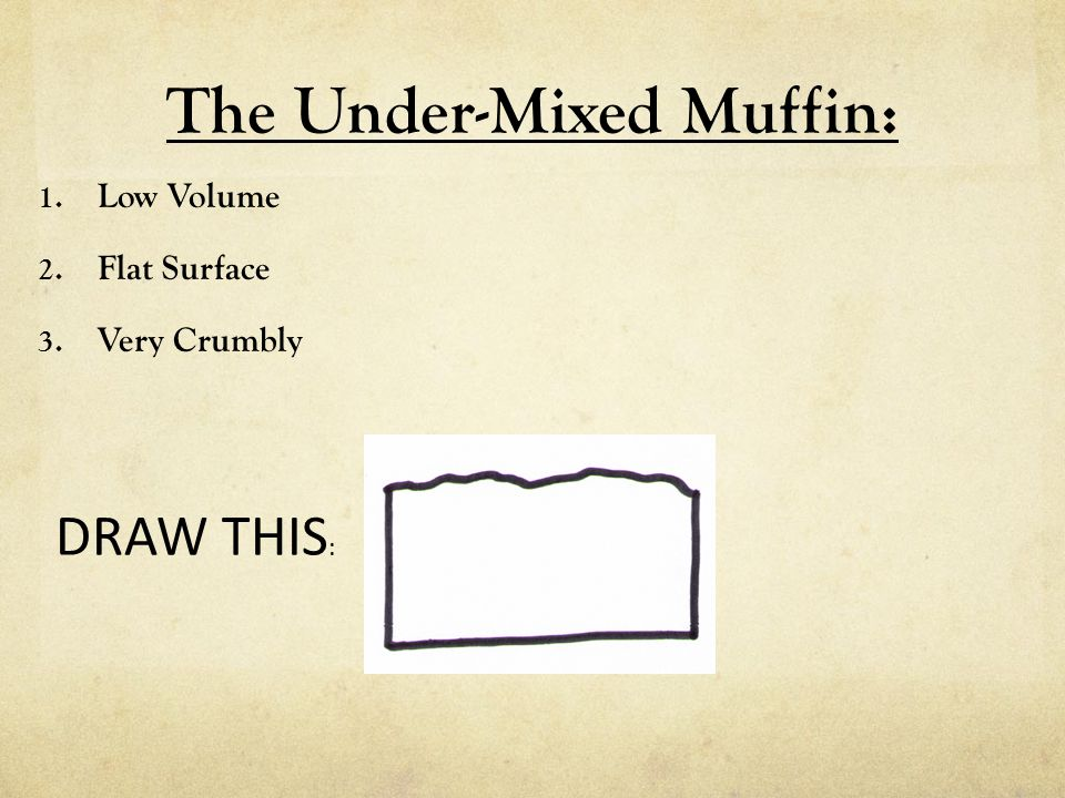 The Under-Mixed Muffin: 1. Low Volume 2. Flat Surface 3. Very Crumbly DRAW THIS :