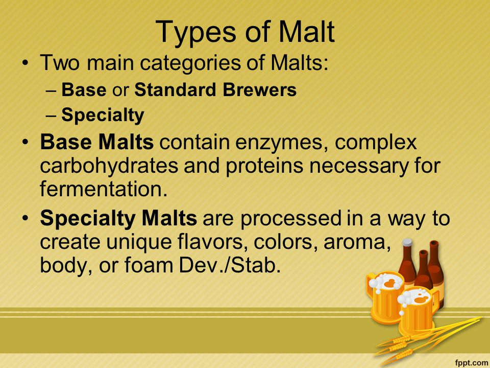 Types of Malt Two main categories of Malts: –Base or Standard Brewers –Specialty Base Malts contain enzymes, complex carbohydrates and proteins necessary for fermentation.