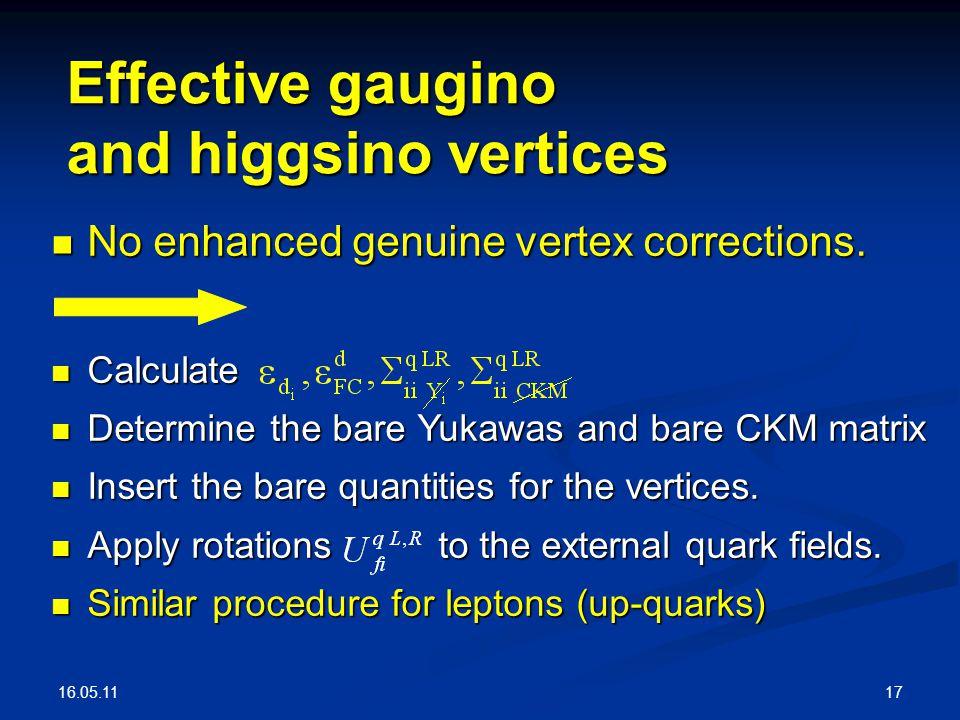 16.05.11 17 Effective gaugino and higgsino vertices No enhanced genuine vertex corrections.