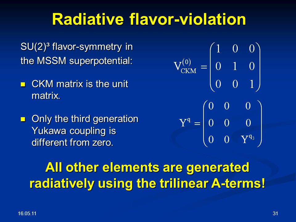 16.05.11 31 SU(2)³ flavor-symmetry in the MSSM superpotential: CKM matrix is the unit matrix.