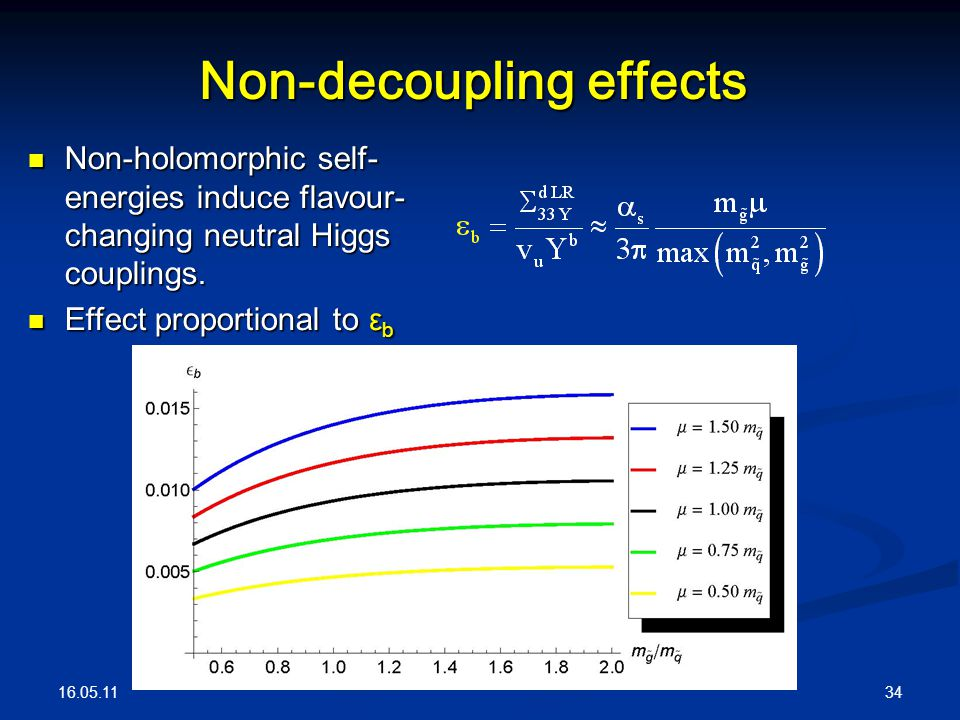 16.05.11 34 Non-decoupling effects Non-holomorphic self- energies induce flavour- changing neutral Higgs couplings. Non-holomorphic self- energies ind