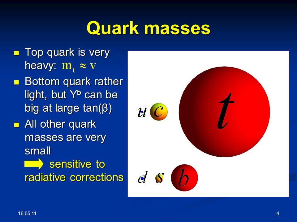 16.05.11 4 Quark masses Top quark is very heavy: Top quark is very heavy: Bottom quark rather light, but Y b can be big at large tan(β) Bottom quark rather light, but Y b can be big at large tan(β) All other quark masses are very small sensitive to radiative corrections All other quark masses are very small sensitive to radiative corrections