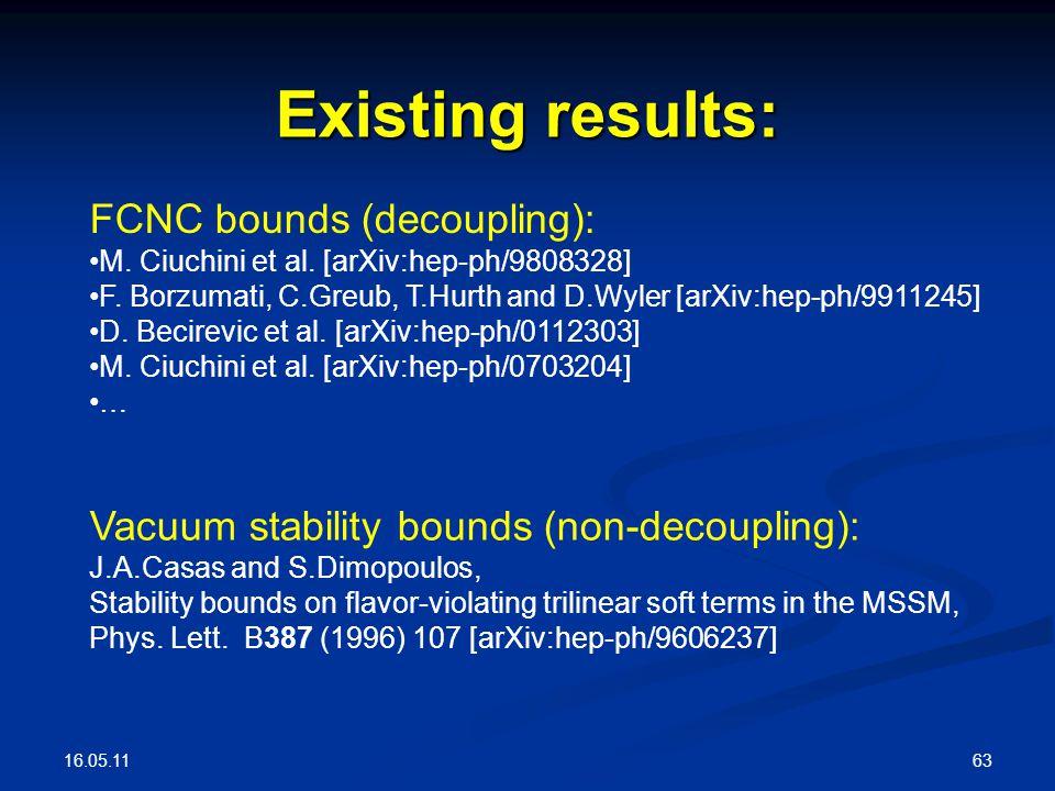 16.05.11 63 Existing results: FCNC bounds (decoupling): M. Ciuchini et al. [arXiv:hep-ph/9808328] F. Borzumati, C.Greub, T.Hurth and D.Wyler [arXiv:he