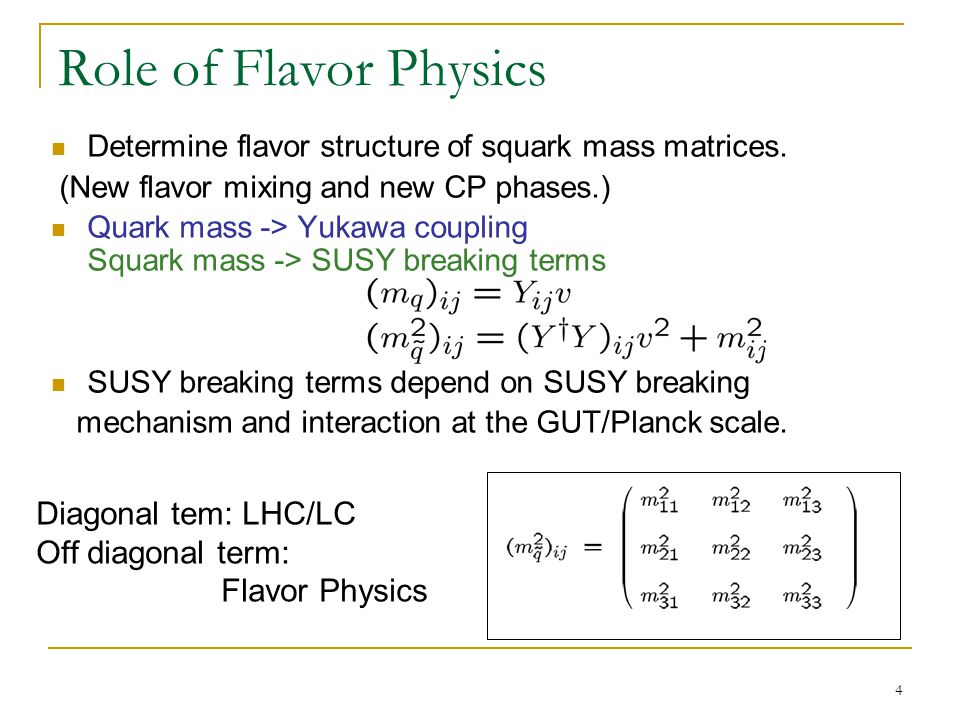 4 Role of Flavor Physics Determine flavor structure of squark mass matrices. (New flavor mixing and new CP phases.) Quark mass -> Yukawa coupling Squa
